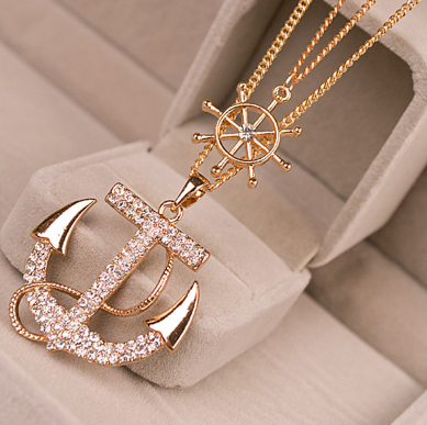 Double chain Necklace Anchor Pendant.