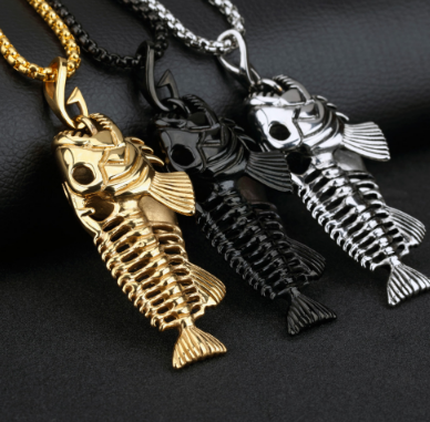 Retro Fish Bone Necklace With Pendant. FREE SHIPPING!!