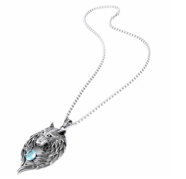 TITANIUM STEEL WOLF TOTEM ZIRCON NECKLACE