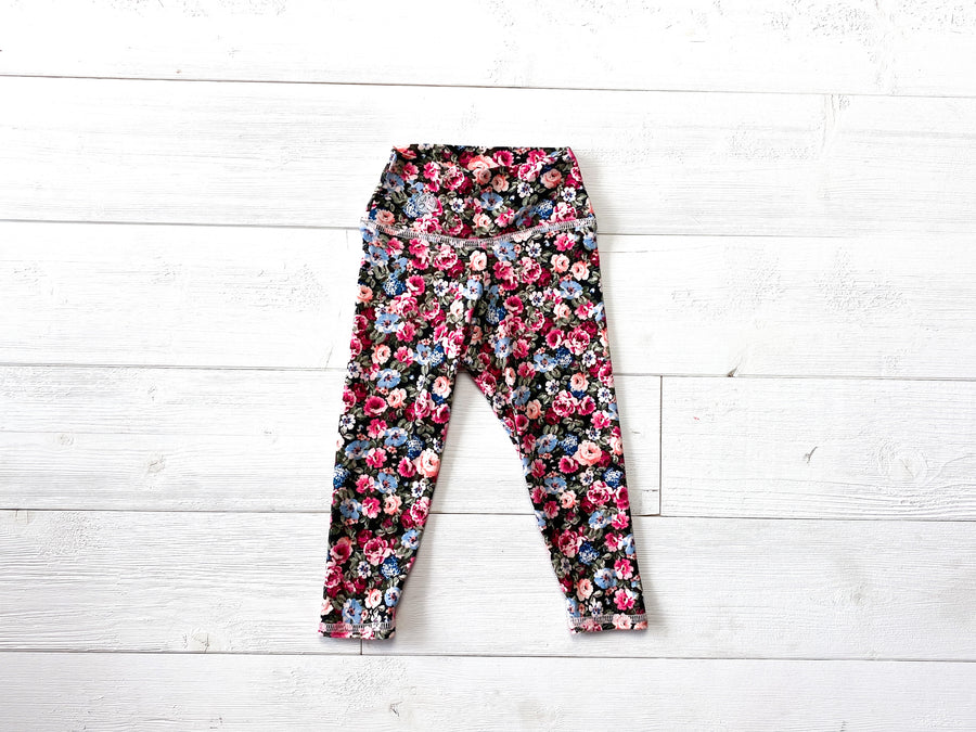 Maroon Floral High Waisted Legging