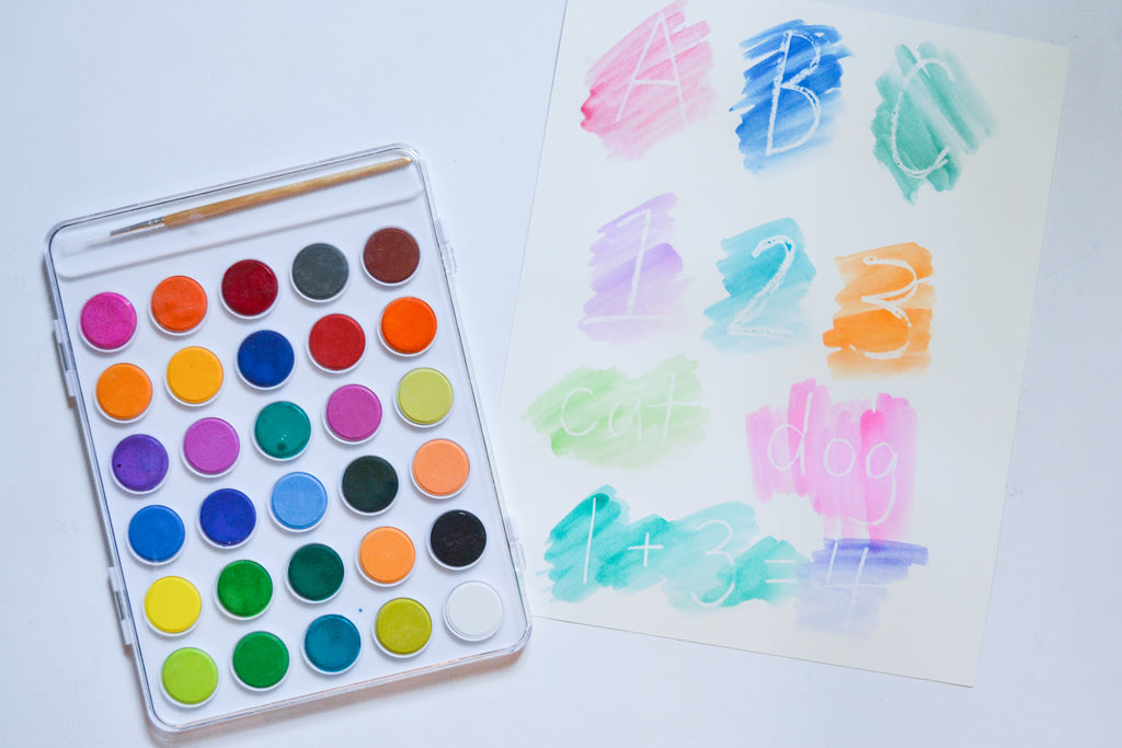 Magic Watercolor Letters and Numbers Activity