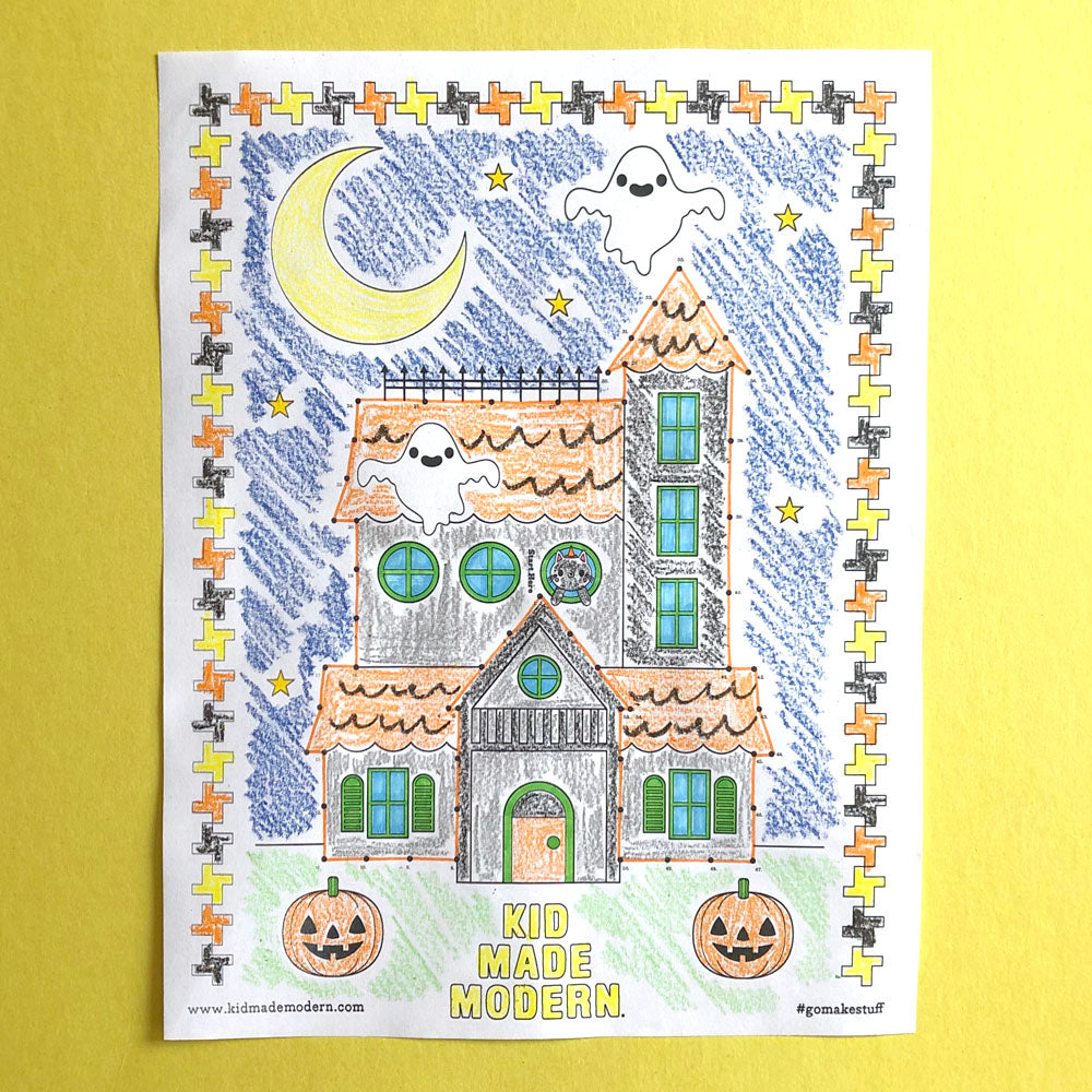 Free Haunted House Connect-the-Dots Coloring Page