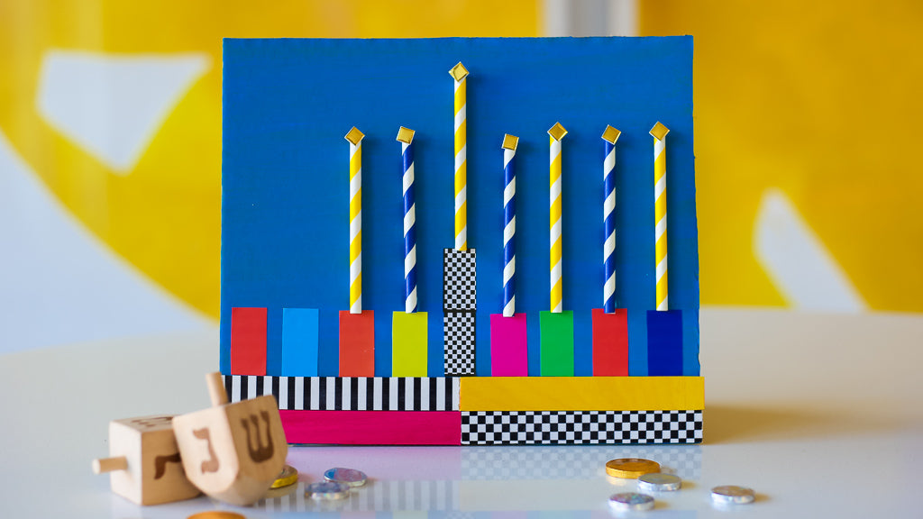Pop Patterned Hanukkah Menorah