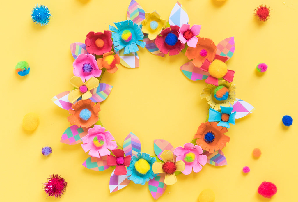 Mother's Day DIY: Egg Carton Upcycled Wreath