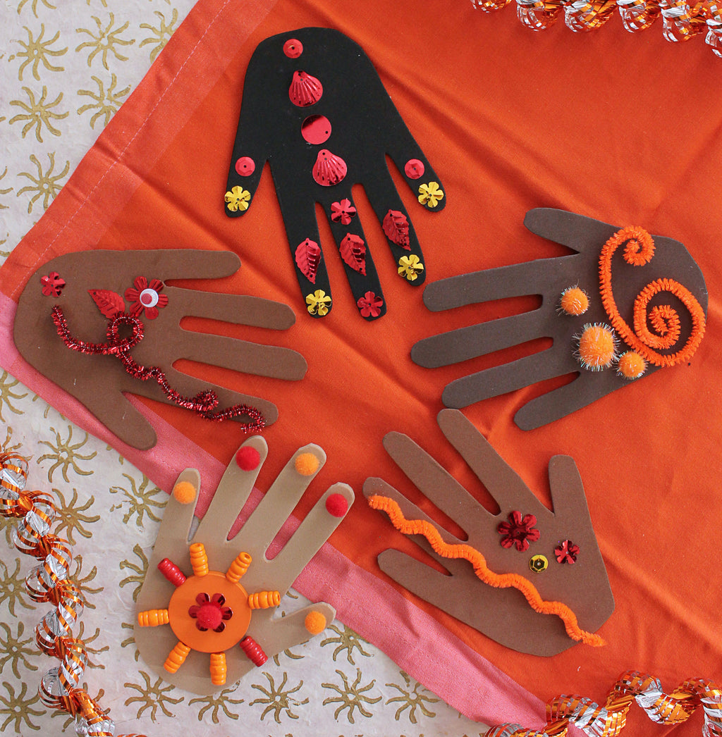 Mehndi Hands Diwali Craft