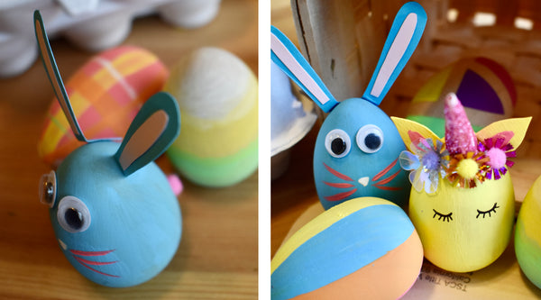 Bunny and Unicorn Painted Easter Eggs