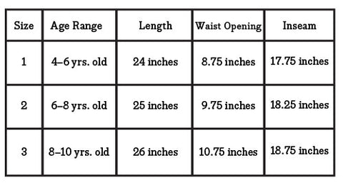 size chart leggings