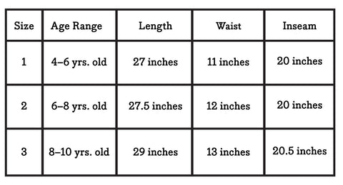 Joggers Size Chart
