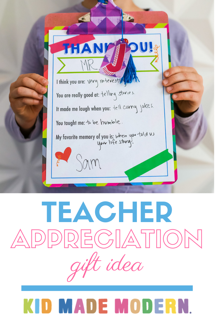 Teacher Appreciation Gift Idea with Kid Made Modern
