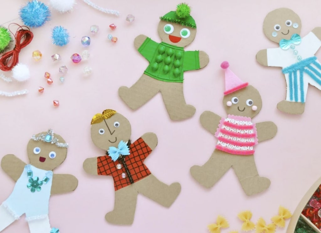Gingerbread cardboard people