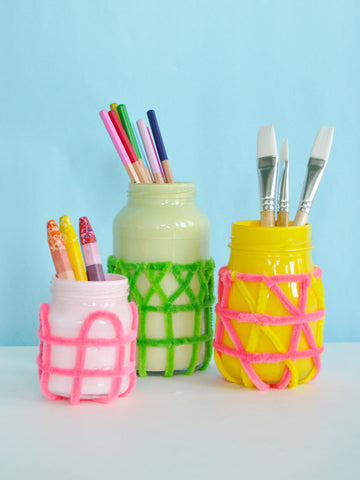 Woven Pipe Cleaner Jar Craft DIY