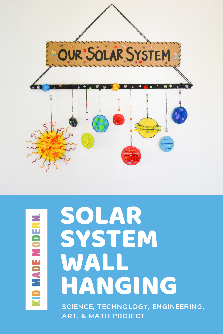 DIY solar system wall hanging by kid made modern
