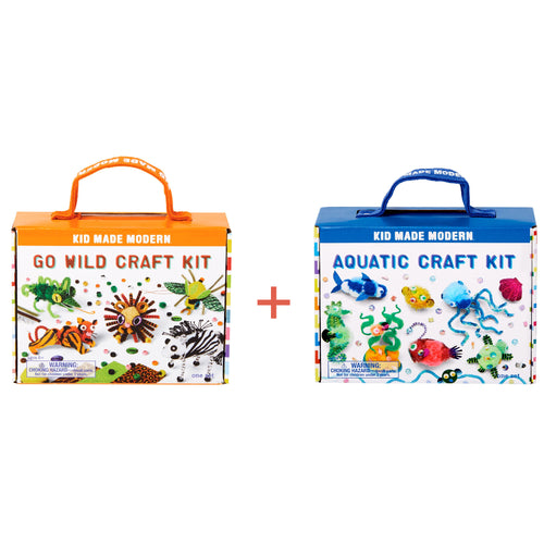 Animal Craft Kit Set: Go Wild Craft Kit + Aquatic Craft Kit