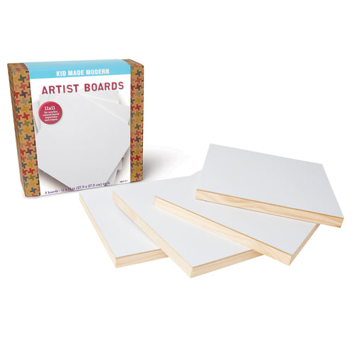 Artist Boards (Set of 4) 851224006732 $19.99 art kits, art supplies, artist board kit, artist boards, arts and crafts, Boards, christmas crafts, cool diy ideas, craft case, craft idea, craft kit, craft kit ideas, craft projects, creative, fun easy diy crafts, gift, gifts, kid made modern, kids craft ideas, kit, multi media, wall display, wood boards, wooden frame Paper Kid Made Modern $19.99