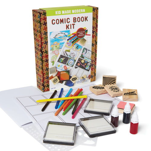 Comic Book Kit 851224006633 $19.99 art kits, art supplies, arts and crafts, book, book kit, christmas crafts, comic book kit, comic books, comics, cool diy ideas, craft case, craft idea, craft kit, craft kit ideas, craft projects, creative, draw, foam ink pads, fun easy diy crafts, gift, graphic novel, illustration, ink pad, kid made modern, kids craft ideas, kit, makers, rubber stamps, sketch, stamp ink, stencils, super hero Kits Kid Made Modern $19.99