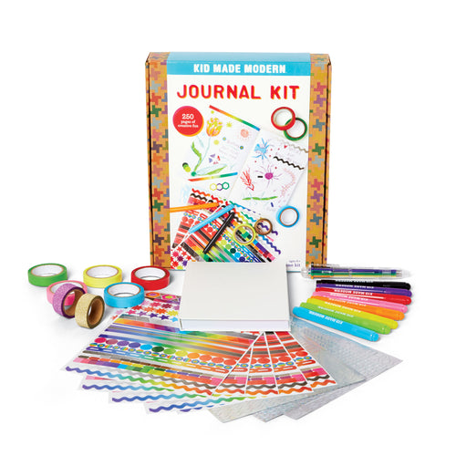 Journal Craft Kit 851224006534 $19.99 art kits, art supplies, arts and crafts, christmas crafts, color, coloring, cool diy ideas, craft case, craft idea, craft kit, craft kit ideas, craft projects, creative, decorate, doodle, drawing, fun easy diy crafts, glitter tape, journal, journal kit, kid made modern, kids craft ideas, markers, pens, stickers Kits Kid Made Modern $19.99
