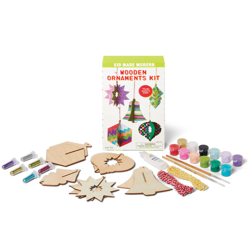 Wooden Ornaments Kit 815219024743 $9.99 bell, christmas, craft, craft kit ideas, gift, holiday, ornament, ornament kit, star, winter, wood, wood basket, wooden Kits Kid Made Modern $9.99