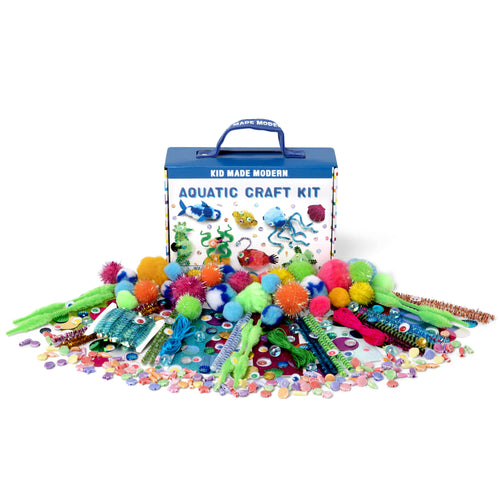 Aquatic Craft Kit 815219023852 $9.99 aquatic, arts and crafts, craft, fuzzy sticks, gift, googly eyes, ocean, pipe cleaner, pom poms, sea, sequin, sparkle, water Kits Kid Made Modern $9.99