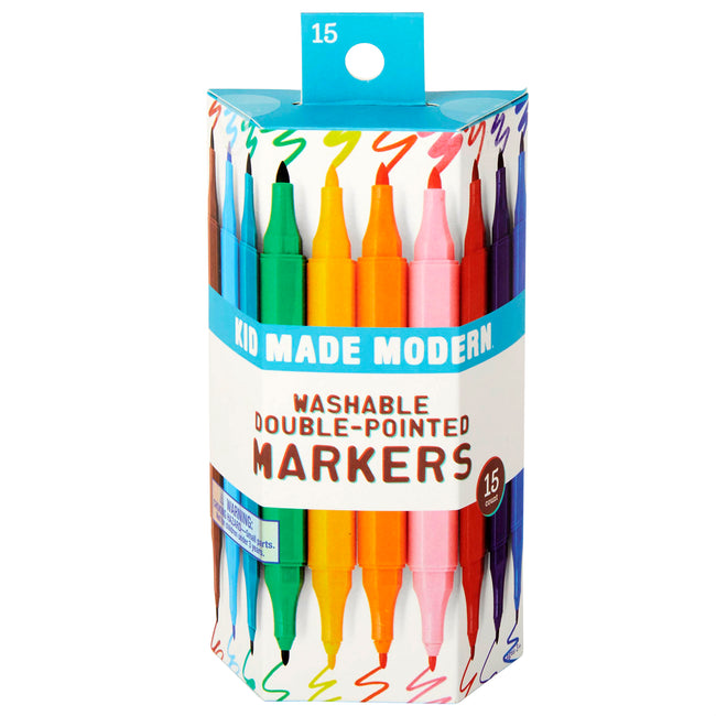 Washable Double Pointed Markers (Set of 15) 815219022077 $7.99 Pencils Kid Made Modern $7.99