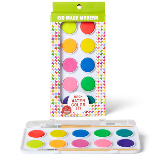 Neon Watercolor Set (Set of 10) 815219022121 $7.99 color, colors, custom, custom hues, kid made modern, neon, paint, paintbrush, watercolor, watercolor set Paint Kid Made Modern $7.99