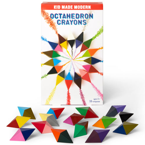 Octahedron Crayons (Set of 15) 815219022138 $12.99 color, colorful, coloring, colors, crayon, drawing, geometric crayons, kid made modern, octahedron, octahedron crayons Crayons Kid Made Modern $12.99