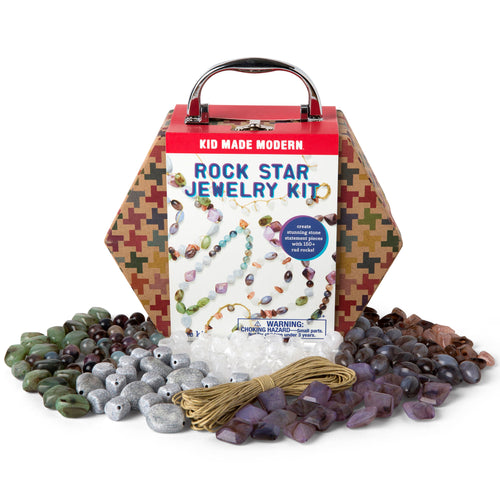 Rock Star Jewelry Making Kit 815219022176 $14.99 art kits, art supplies, arts and crafts, beads, bracelet, christmas crafts, cool diy ideas, craft case, craft idea, craft kit, craft kit ideas, craft projects, creative, fashionable, fun easy diy crafts, hemp cords, jewelry, jewelry kit, kid made modern, kids craft ideas, kit, necklace, rock star jewelry, rocks, rockstar jewelry Kits Kid Made Modern $14.99