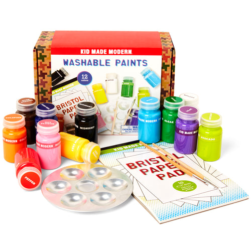 Washable Paint Set (Set of 12) 815219022107 $19.99 color, colors, custom, custom hues, kid made modern, paint, paper, paper pad, washable, washable acrylic paint, washable paint Paint Kid Made Modern