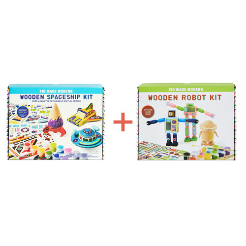 Wooden Spaceship and Wooden Robot Craft Kit Bundle