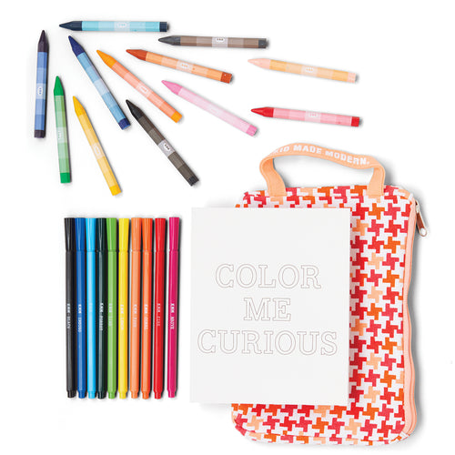 On-The-Go Coloring Kit 851224006640 $9.99 art, art kits, art supplies, book, christmas crafts, color, coloring, coloring book, colors, cool diy ideas, craft case, craft idea, craft kit, craft kit ideas, craft projects, crayons, creative, fun easy diy crafts, kids craft ideas, kit, markers, on the go, on the go coloring kit, pattern print, patterns, prints, stripes, swirls Kits Kid Made Modern $9.99