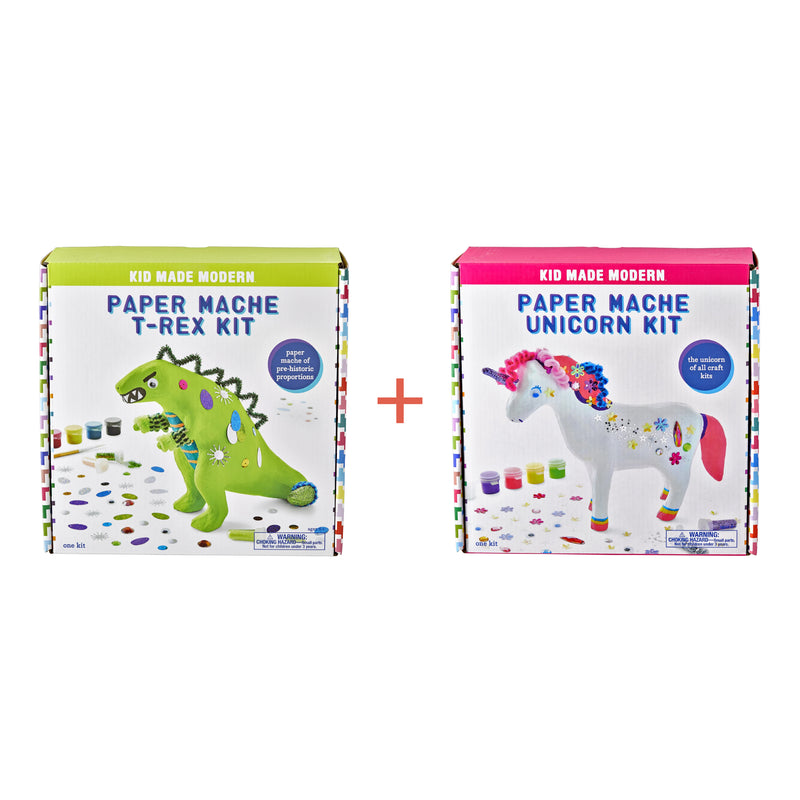 T-Rex Unicorn Paper Mache Bundle