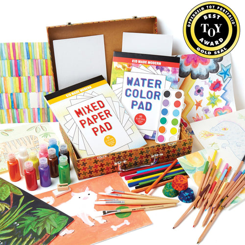 Studio in a Box 851224006688 $39.99 acrylic paints, art kits, art supplies, award, canvas, christmas crafts, color, colored pencils, cool diy ideas, craft case, craft idea, craft kit, craft kit ideas, craft projects, creative, draw, eraser, fun easy diy crafts, gold award, kid made modern, kids craft ideas, kit, oppenheim, paint, paint brush, paper pad, pencil sharpener, pencils, sketch, studio, studio in a box, toy, watercolors Kits Kid Made Modern $39.99