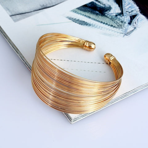 Multilayer Metal Wire Cuff Bangle - Empire Finery