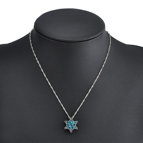 Blue Crystal Snowflake Zircon Flower Silver Necklace & Pendant - Empire Finery
