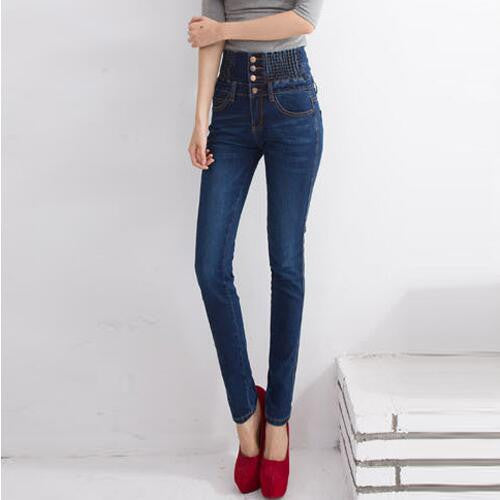 High Waist Elastic Skinny Denim  Jeans - Empire Finery