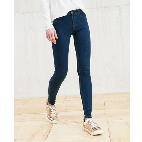 Classic Mid Waist Stretchable Jeans - Dark Blue/Light Blue - Empire Finery
