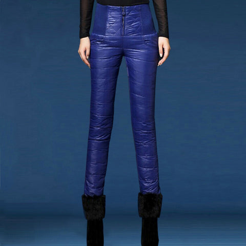 Waterproof pants High-Waisted Warm Thick Duck Down Pants - Empire Finery