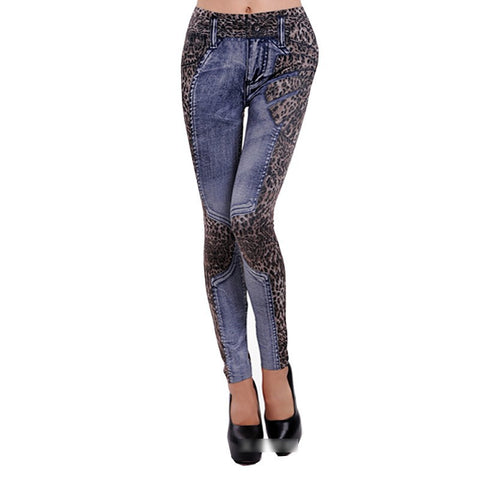 Leopard Slim Fit Pencil Jeans Blue/Gray - Empire Finery