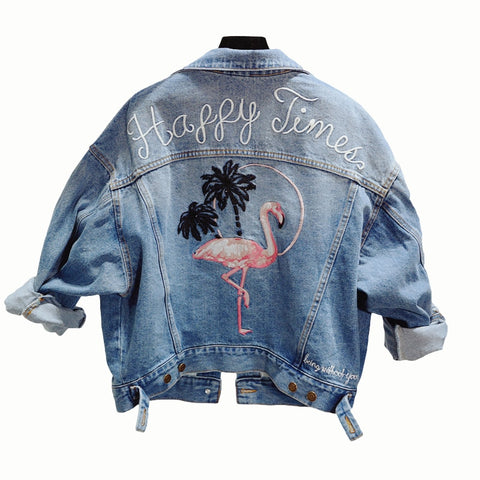 Happy Times Embroided Loose Style Pure Denim Jacket - Empire Finery