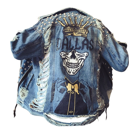 Dallas Handmade Pearl Beads ,Ripped Style Full Sleeve Denim Jacket - Empire Finery