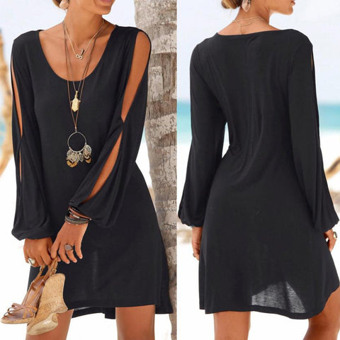 Beach Style Casual O-Neck Hollow Out  Lantern Sleeve Mini Dress - Empire Finery