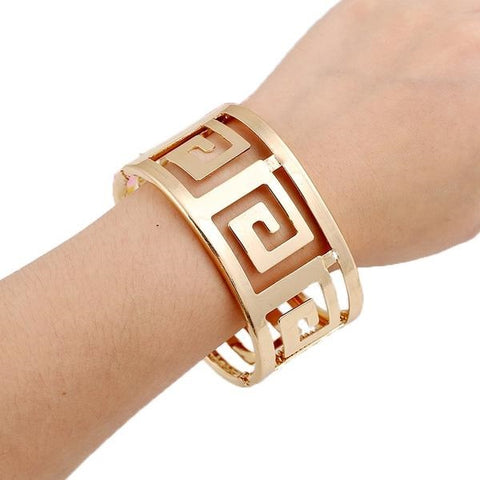 Geometric Hollow Wide Metal Bangle - Empire Finery
