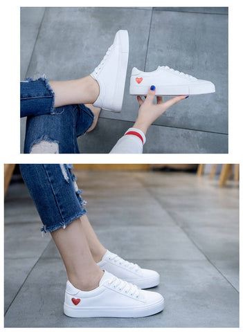 Womens White Sneakers Heart On Ankle - Empire Finery