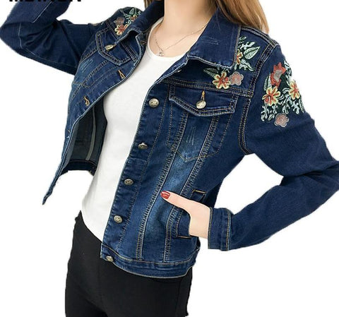 Slim Fit Floral Embroidery Denim Jacket - Empire Finery