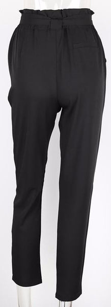 Chiffon High Waist Harem Pants - Black/Light Tan/Gray - Empire Finery