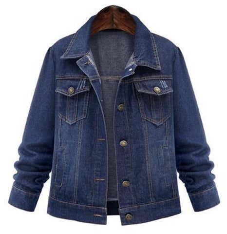 Navy-Blue Classic Long Sleeve Short Style Jean Jacket - Empire Finery