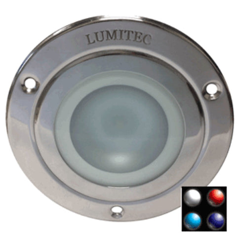 Lumitec Shadow - Flush Mount Down Light - Polished SS Finish - 4-Color White/Red/Blue/Purple Non Dimming