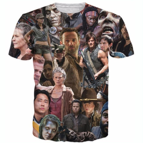 Raisevern new fashion mens 3D t shirt The Walking Dead T-Shirt Rick Grimes Carl Daryl Michonne zombies 3d tees shirts - Latest And Greatest