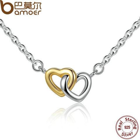 BAMOER 925 Sterling Silver United in Love Silver & Small Chain Necklace & Pendant For Women Sterling-Silver-Jewelry PSN011