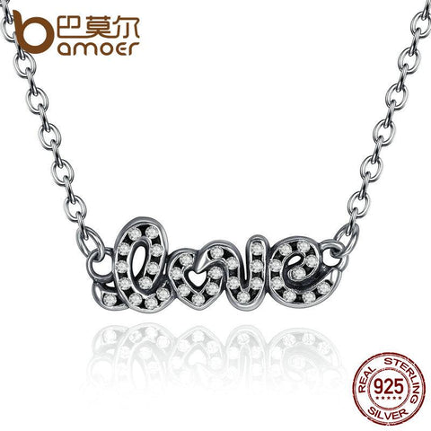 BAMOER 925 Sterling Silver Signature Of LOVE Pendant Necklace, Clear CZ Adjustable Chain Necklaces for Women Wedding Gift PSN009