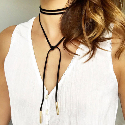 2016 New Fashion Long Black/Brown Velvet Choker Necklace Women Steampunk Gold/Rhodium Tube Collar Necklaces Ras De Cou F3916 - Latest And Greatest